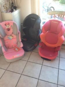 3 van de 4 kinderautostoelen in ons bezit. Ook op Curacao heb ik een hele verzameling staan.