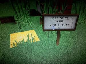 Mijn dochter (6) heeft in Minecraft in haar tuin het graf van opa Vlieger gemaakt. Erg creatief en zo is hij altijd dichtbij